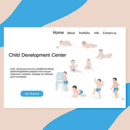 Child development center website page. Baby evolution, from diaper to walk process, crawl development, learn step in kindergarten