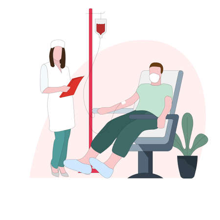 Donation blood to immediately transfusion, emergency treatment. Vector donor drop donation, patient in clinic, person nurse take plasma for laboratory, supply and donate illustration