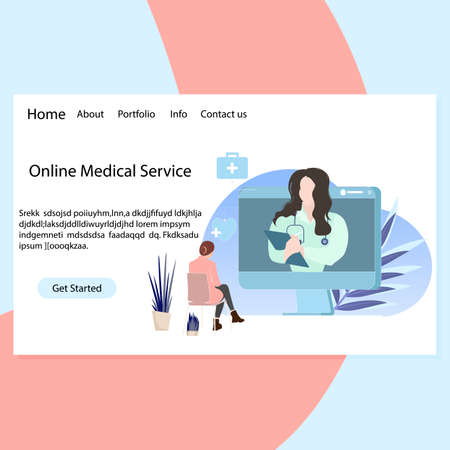 Online medical service landing page to remote consultation diagnostic and treatment. Healthy work remote and give prescription, digital doctor use modern way medical assistance. Vector illustration