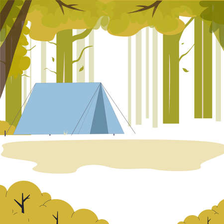 Landscape tent in green wood, place to camping. Vector adventure and tourism, outdoor wood camp, summer travel expedition  イラスト・ベクター素材