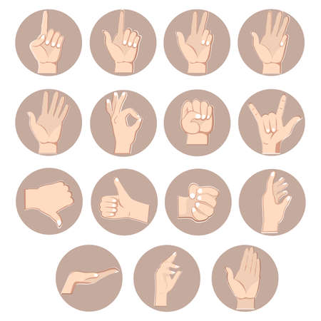Hands gestures set, counting fingers. Vector of gesture fist and thumb up, forefinger pose, signal pointing, position show ok illustration, approval and counting