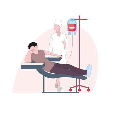 Donor give blood to charity, drip and supply, immediately collect for transfusion, healthcare donation by volunteer, patient in clinic laboratory, vector illustration  イラスト・ベクター素材