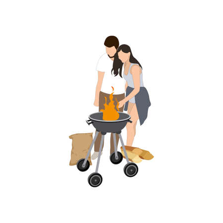 Couple cook bbq grill, barbecue party vector. Lovely man and woman hugging and watch through campfire. Preparing bbq while outdoor party. Vector illustration  イラスト・ベクター素材