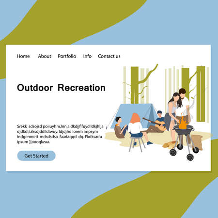 Outdoor recreation landing page, friends barbeque picnic. Vector campground and cooking, adventure camping service, vacation activity with barbecue outdoor illustration