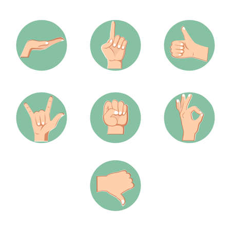 Hand gestures collection, sign of the horns, like and dislike. Set of arm signs. Vector gesturing and greeting, collection of gesture expression language illustration