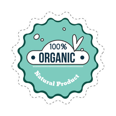 Organic natural product badge cartoon. Vector guarantee organic icon for market badge, label vintage to pack and stamp on product, illustration of certificate quality  イラスト・ベクター素材