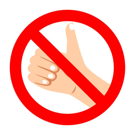 Prohibition like and forbidden thumb up in social medias. Conceptual symbol means move against social media and influence to people. Vector illustration