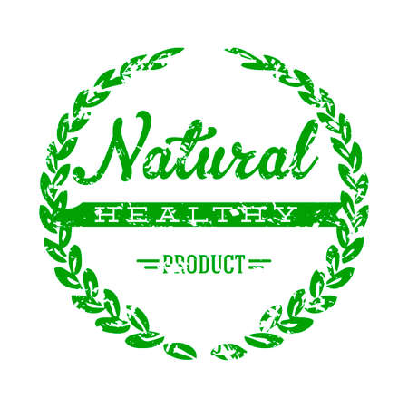 Natural healthy product stamp to mark goods. Vector stamp template mark vegetable and fruits, ingredient ecological