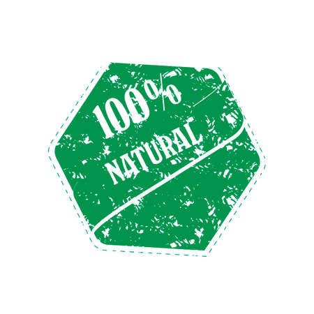 Rubber stamp of natural product, green print vector. Illustration natural stamp ecological element, mark print for market, emblem product template