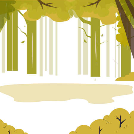 Green wood with place to camping. Outdoor relax and rest from city, hiking, camping, walking and fishing. Vector illustration activity outdoor area