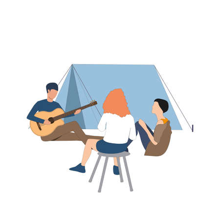 Friends spend time near campfire with guitar. Guys sitting at camp, listen to guitar and enjoy friendly and cozy environment. Vector illustration