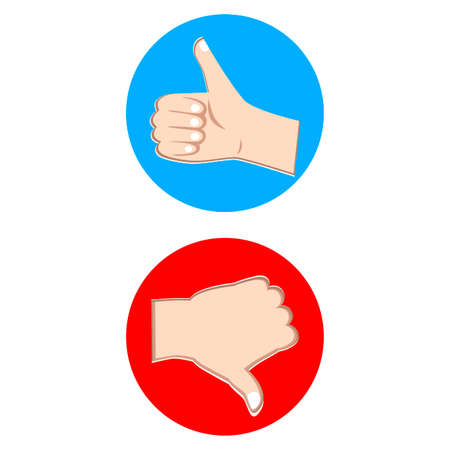 Like and dislike badge, red and blue label to communication in application, modern social approve element, interface button for blog, thumb up icon. Vector illustration feedback the best and down mark
