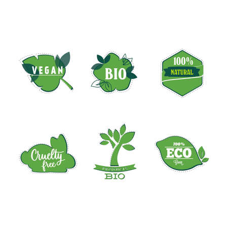 Bio and vegan stickers, natural product label for mark helpful food. Vector cruelty free and bio label, eco natural sticke illustration