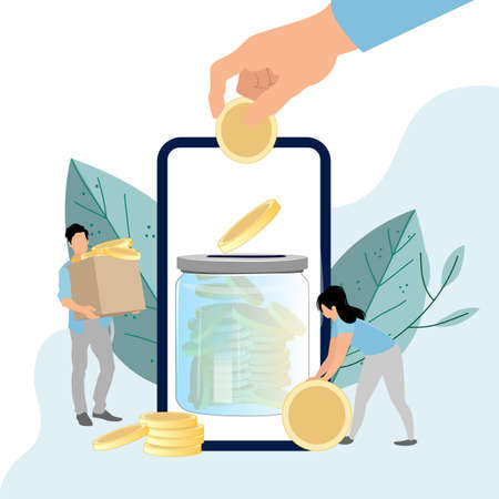 Deposit mobile banking, collecting finance on banking account. Accumulation financial. Vector collect finance in banking smartphone, electronic earning illustration. Deposit transaction application  イラスト・ベクター素材