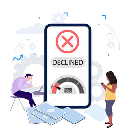 Declined request of loan in mobile banking application. Low credit rating to get cash. Disappointed client get notification from bank about rejected apply. Vector illustration