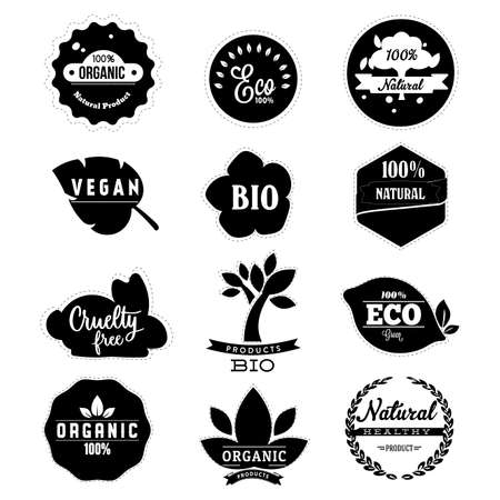 Eco friendly badge label in black white. Organic natural product, eco quality, cruelty free, bio and vegan  . Vector vegetarian and veggie illustration also use for packaging
