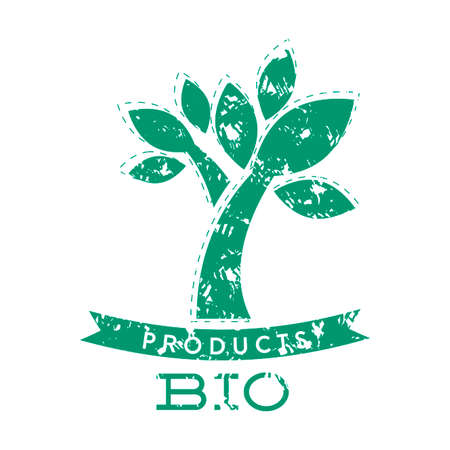 Bio product stamp with green tree and ribbon. Bio natural product badge label stamp, organic food and cosmetic. Vector illustration