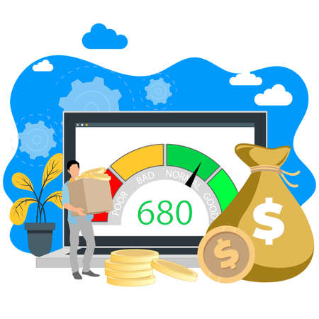 Online mortgage or credit. Loan online service, finance payment, approved financial requires and debt, business bank remotly, financial agreement and issue cash. Vector illustration