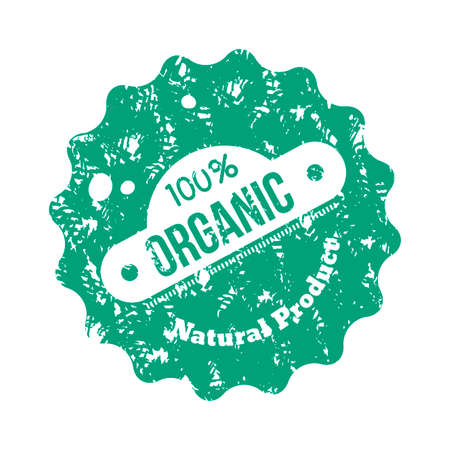 Organic and eco, healthy stamp to product. Bio food vintage, natural green and ecological, eco fresh product cosmetic. Vector illustration