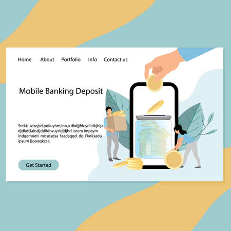 Mobile banking deposit service landing page, concept safe money. Vector desing banking department of finance, illustration earning and transaction in mobile transaction