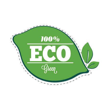 Eco green badge label, vector natural mark icon badge, assurance label, farm and ecological food drink cosmetic illustration