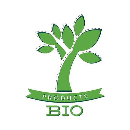 Bio product label with green tree and ribbon. Growth and natural product. Vector eco mark for food and items illustration  イラスト・ベクター素材