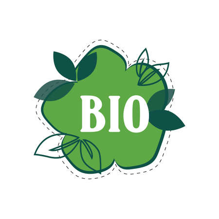 Bio label for mark product in supermarket. Vector groceries and supermarket stamp or stickersl, vegetable and drink icon illustration