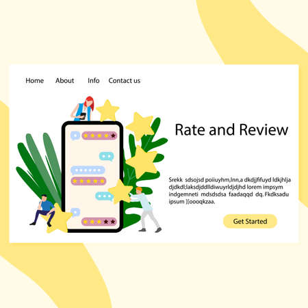 Rate and review landing service. Mobile application for feedback and rate from consumers. Satisfaction and mark from clients. Vector illustration  イラスト・ベクター素材