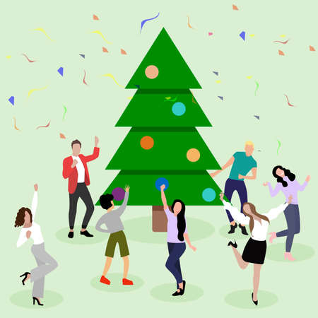 Happy new year, people dance and enjoy around christmas tree. Vector of christmas party, people celebration, celebrate company with decoration tree illustration