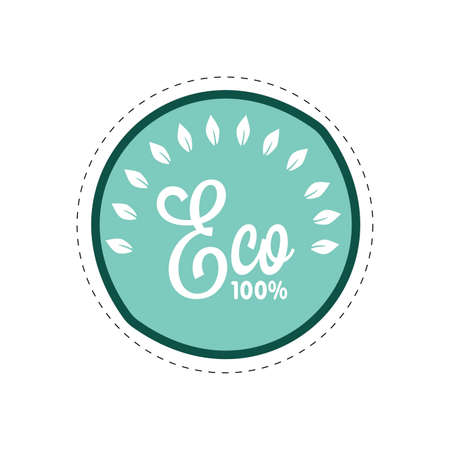 Eco badge with guarantee 100, green food and drink. Vector ecological label for product illustration