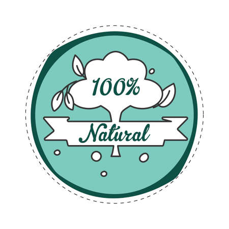 Natural badge green for product marked. Illustration of natural template organic for market label. Vector ecological concept  イラスト・ベクター素材