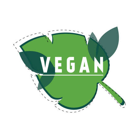 Vegan food icon with green leaf. Eco bio label for vegetarian shop store market. Vector illustration mark symbol badge