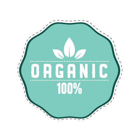 Organic label icon to mark veggie food isolated on white. Vector eco business icon for mel food in restaurant, label with text, round mark illustration  イラスト・ベクター素材