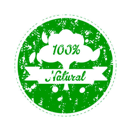 Label for natural product food, rubber stamp to mark goods in vegetarian market. Vector print green with guarantee quality illustration  イラスト・ベクター素材