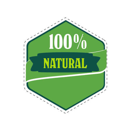 100 natural item, drink food cosmetic, stamp packaging, quality and guarantee healthy and useful, vector sticker for vegetable and fruits illustration