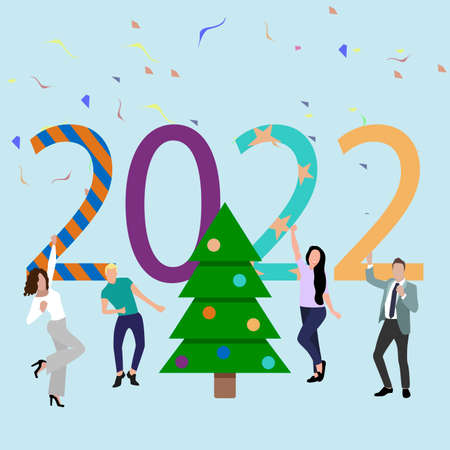 Party new 2022 year. Friends dancing around christmas tree. Happy people celebrating and enjoying coming new year. Vector illustration. Decorated fir-tree, woman and man excited