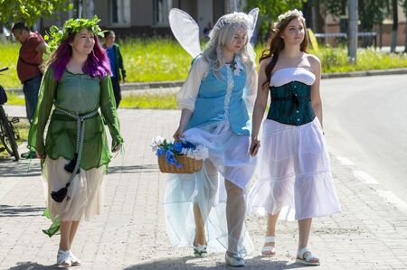 Three girls in fairies costumes, Surgut, Russia - June 30, 2019 Editöryel