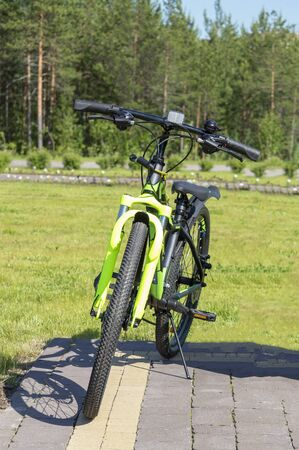 Green sport bike in the park. Front view Stok Fotoğraf