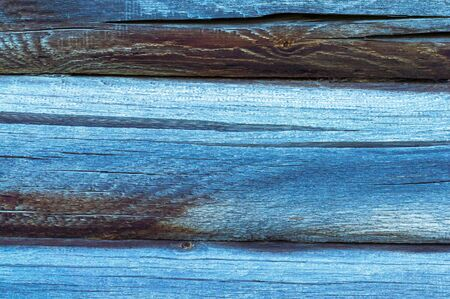 Wooden old blue horizontal boards. Abstract background. Front view