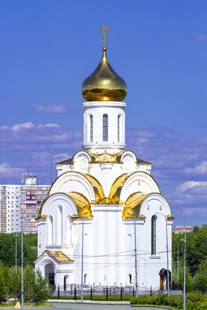 Russian Orthodox Church Chapel. Front view Stok Fotoğraf