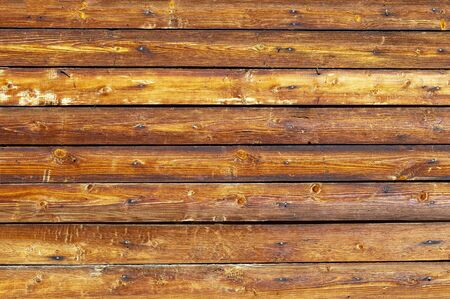 Wooden brown horizontal boards. Abstract background. Front view