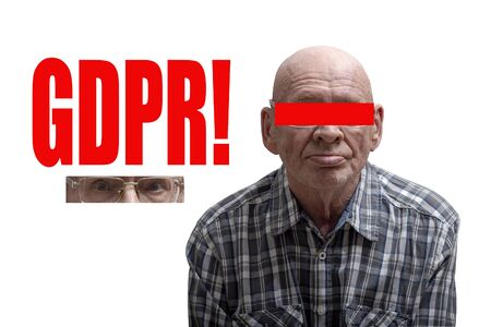 Old man with cut face and red inscription GDPR. Concept