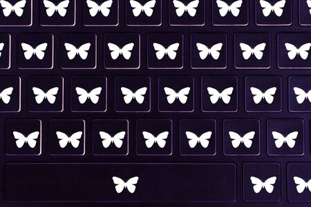Butterfly symbols on the keyboard. Concept