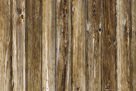 Brown wooden background from old vertical boards. Front view. Stok Fotoğraf - 131245358