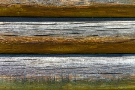 Horizontal logs, fragment of the wall. Textured background. Stok Fotoğraf - 131245599