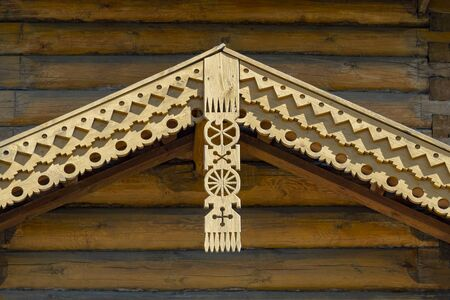 Carved decorative elements of the roof vault of the old Orthodox church. View from the bottom up. Stok Fotoğraf - 131260754