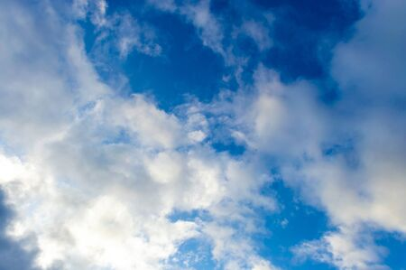 On a blue sky and white clouds A storm in the fall in Siberia before the first snow. Stok Fotoğraf - 133322335