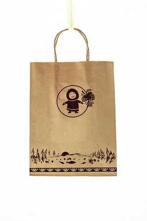 Kraft paper bag with handles. Isolate on a white background. Stok Fotoğraf