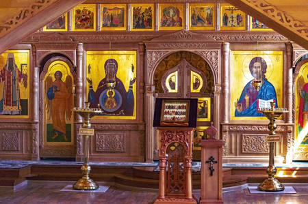 Fragment of the iconostasis in the Church in the Name of All Saints in the Siberian Land, Shone, Surgut, Russia - August 10, 2019 Stok Fotoğraf - 133326599