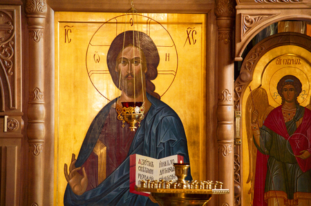 Fragment of the iconostasis in the Church in the Name of All Saints in the Siberian Land, Shone, Surgut, Russia - August 10, 2019 Stok Fotoğraf - 133326601